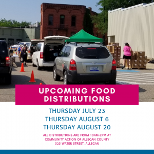 Community Action will be distributing food on July 23rd, August 6th and August 20th from 10am -2pm